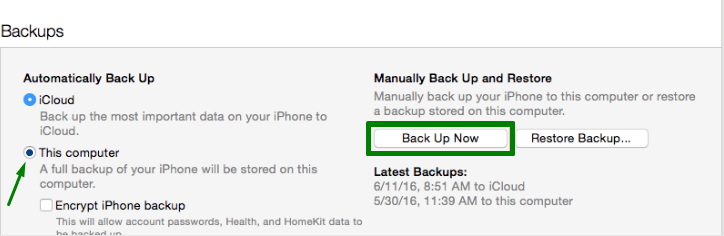 How To Backup iPhone Contacts To iTunes Step 4